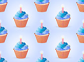 A lot of cupcakes in colors of a flag on the Independence Day of the USA. Seamless pattern with clipping mask. Vector illustration