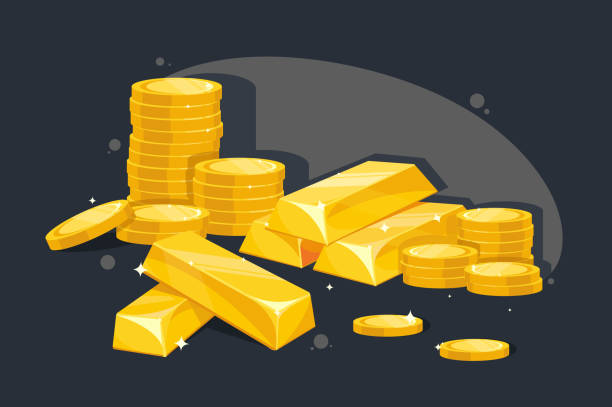 Lot of gold bars and coins. Lot of gold bars and coins. Concept great wealth, safekeeping, bank. Vector illustration. ingot stock illustrations