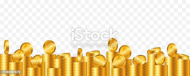 Lot of gold coins on transparent background. Vector illustration.