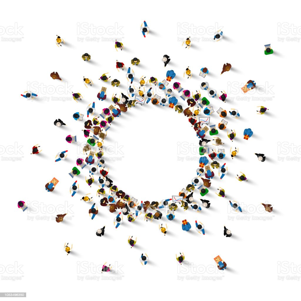 Viele Menschen stehen in einem Kreis auf weißem Hintergrund. Vektor-illustration Lizenzfreies viele menschen stehen in einem kreis auf weißem hintergrund vektorillustration stock vektor art und mehr bilder von abstrakt