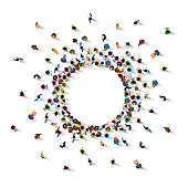 A lot of people stand in a circle on a white background. Vector illustration