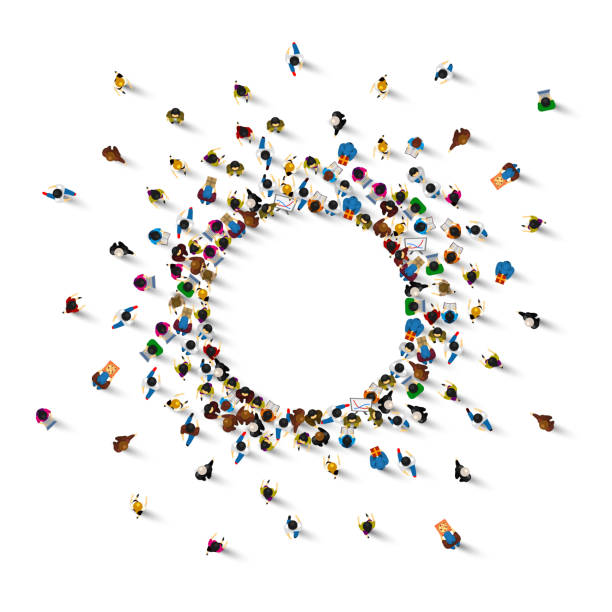 A lot of people stand in a circle on a white background. Vector illustration A lot of people stand in a circle on a white background. Vector illustration crowd of people stock illustrations
