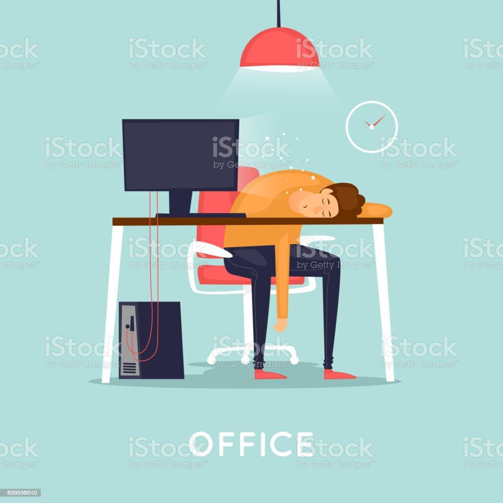 Lot of work, man fell asleep at the table. Flat design vector illustration. vector art illustration