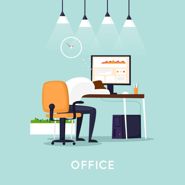 Viel Arbeit, Mann schlief am Tisch. Flaches Design-Vektor-Illustration. – Vektorgrafik