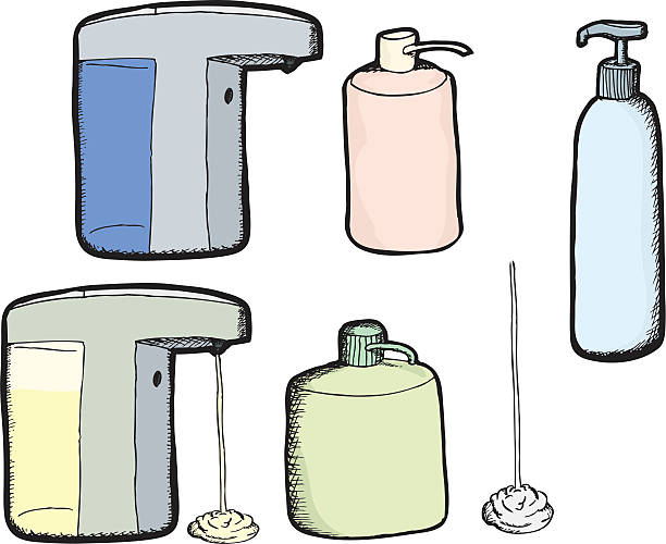 royalty free cartoon of a hand sanitizer clip art vector images