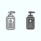 Lotion line and solid icon. Cosmetic lotion vector illustration isolated on white. Bottle of liquid cosmetics outline style design, designed for web and app. Eps 10