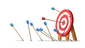 istock Lots arrows missed hitting target mark and only one hits the center. 1279344170
