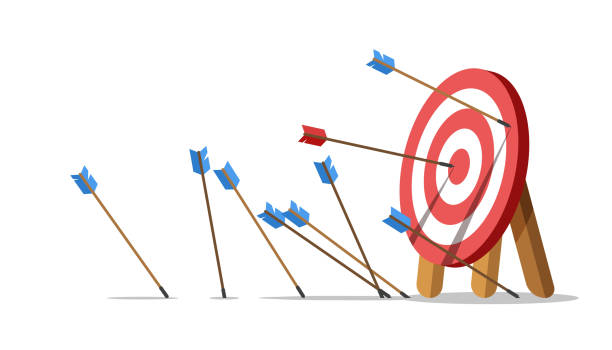 Lots arrows missed hitting target mark and only one hits the center. Business challenge failure concept. Lots arrows missed hitting target mark and only one hits the center. Shot miss. Failed inaccurate attempts to hit archery target. Vector illustration. practicing stock illustrations