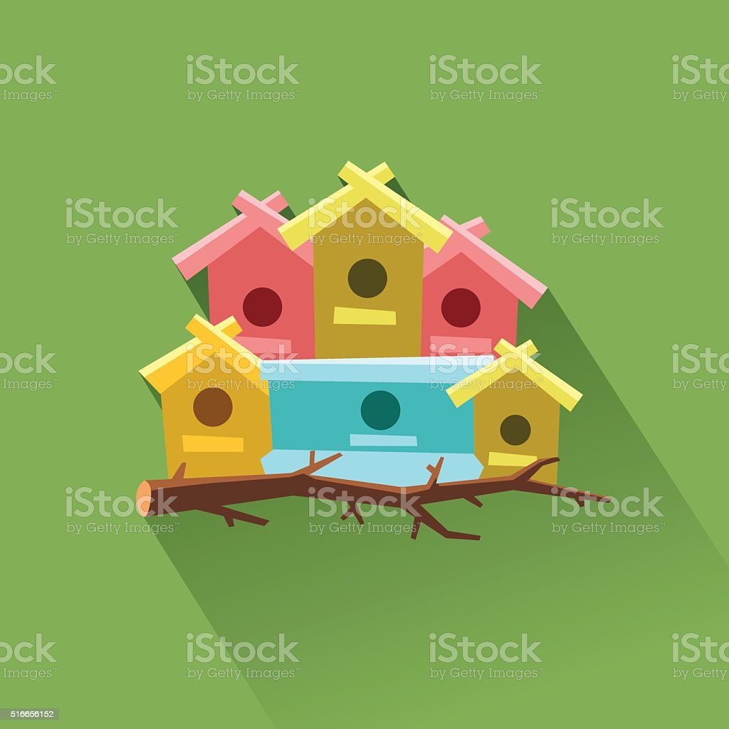 Lots of bird houses on one tree. Community concept vector art illustration