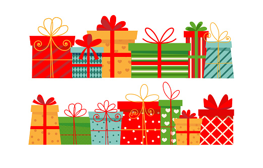 Lots of Christmas gifts. Isolated on white background, flat style.