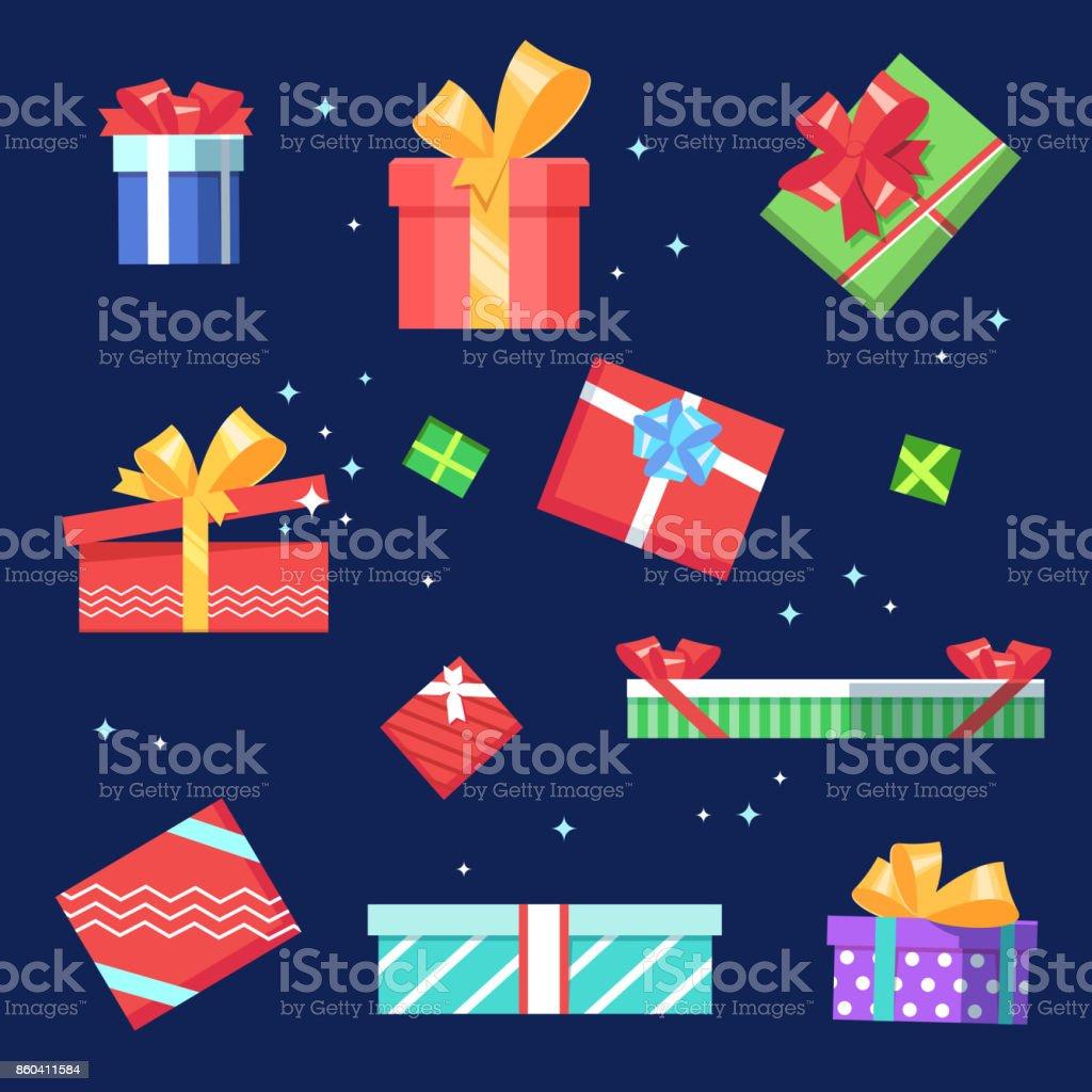 Viel Farbe Geschenkboxen – Vektorgrafik