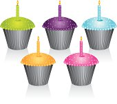 Pick you're favorite color cupcake. Each cupcake is grouped so it's easy to use any color you like. File contains, Illustrator CS2 ai, Illustrator 8.0 eps and high-res jpeg.