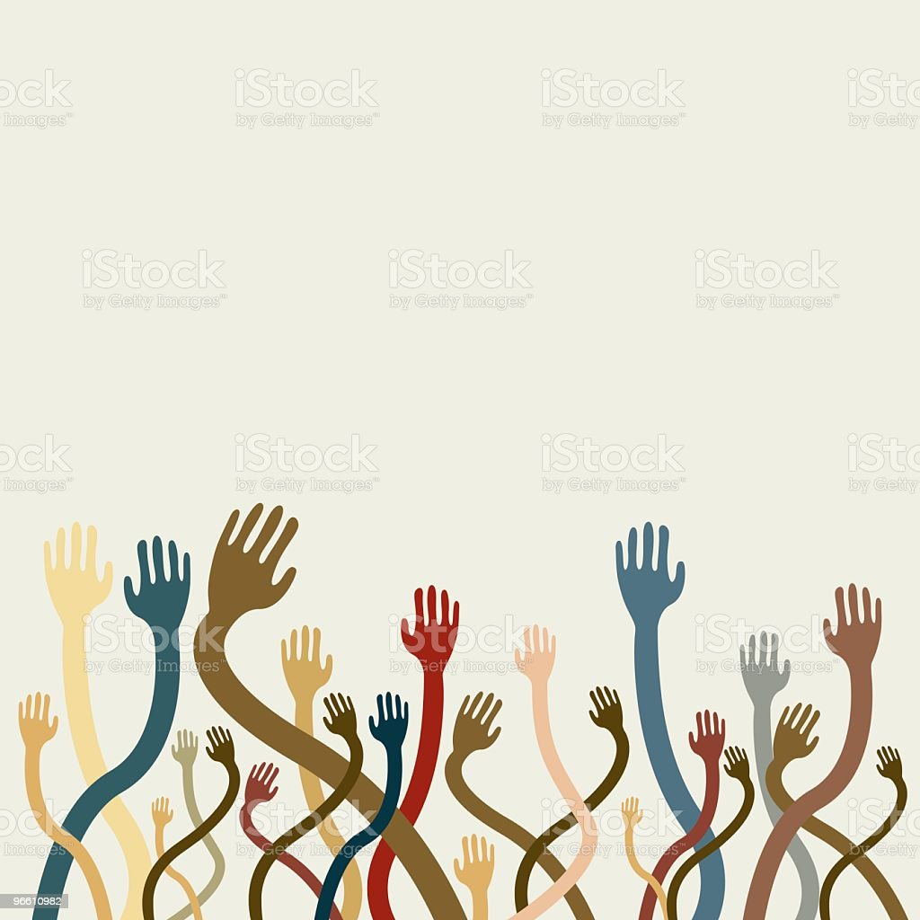 Lots of hands reaching up - Royalty-free Bontgekleurd vectorkunst