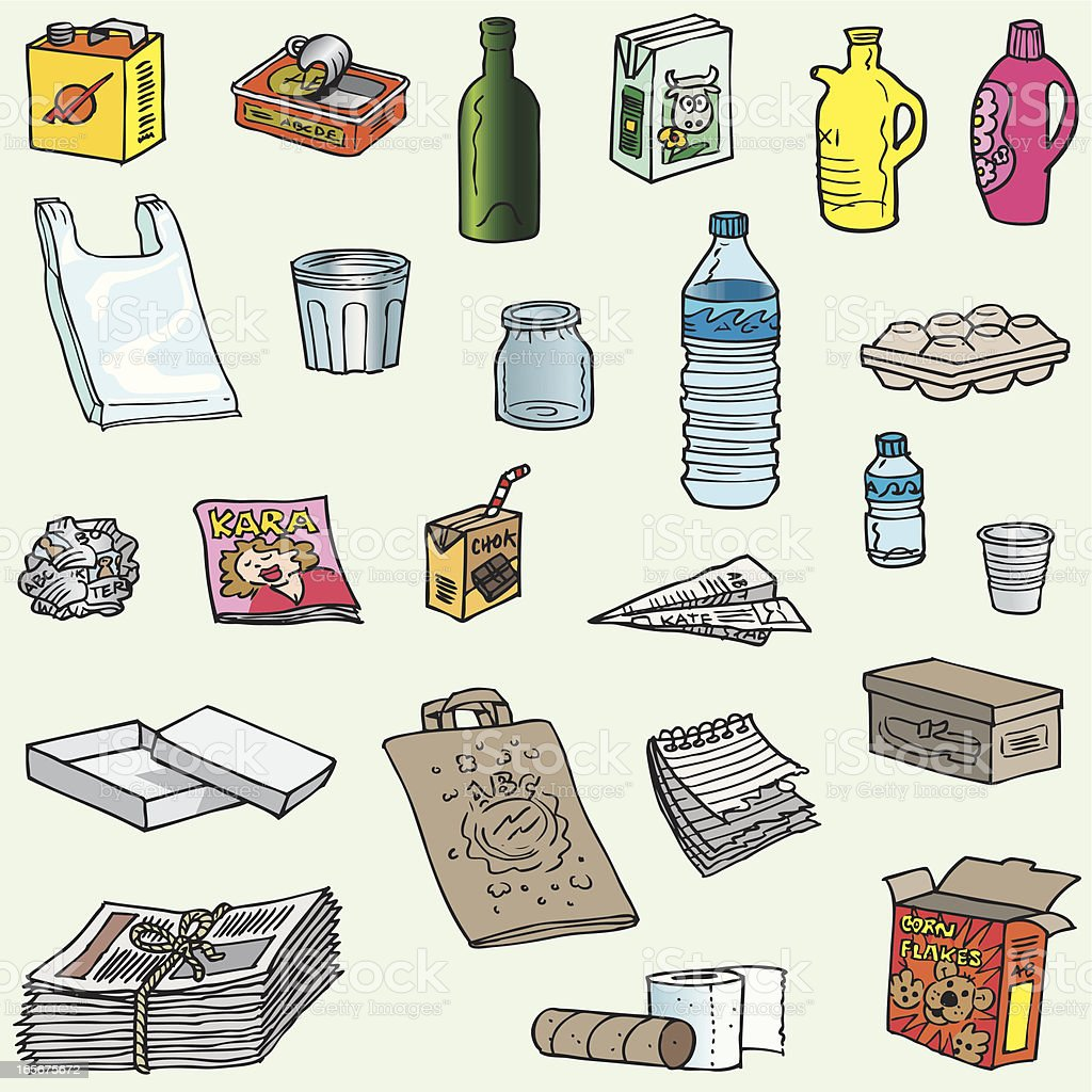Lots of objects to recycle vector art illustration