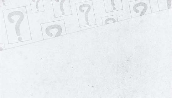 Lots of Question mark sign or symbols, encircled in a square over light grey or white coloured smudged  grunge old paper or cardboard textured abstract vector backgrounds