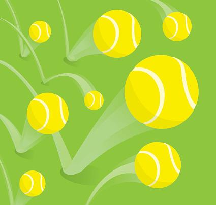 Lots of tennis balls bouncing