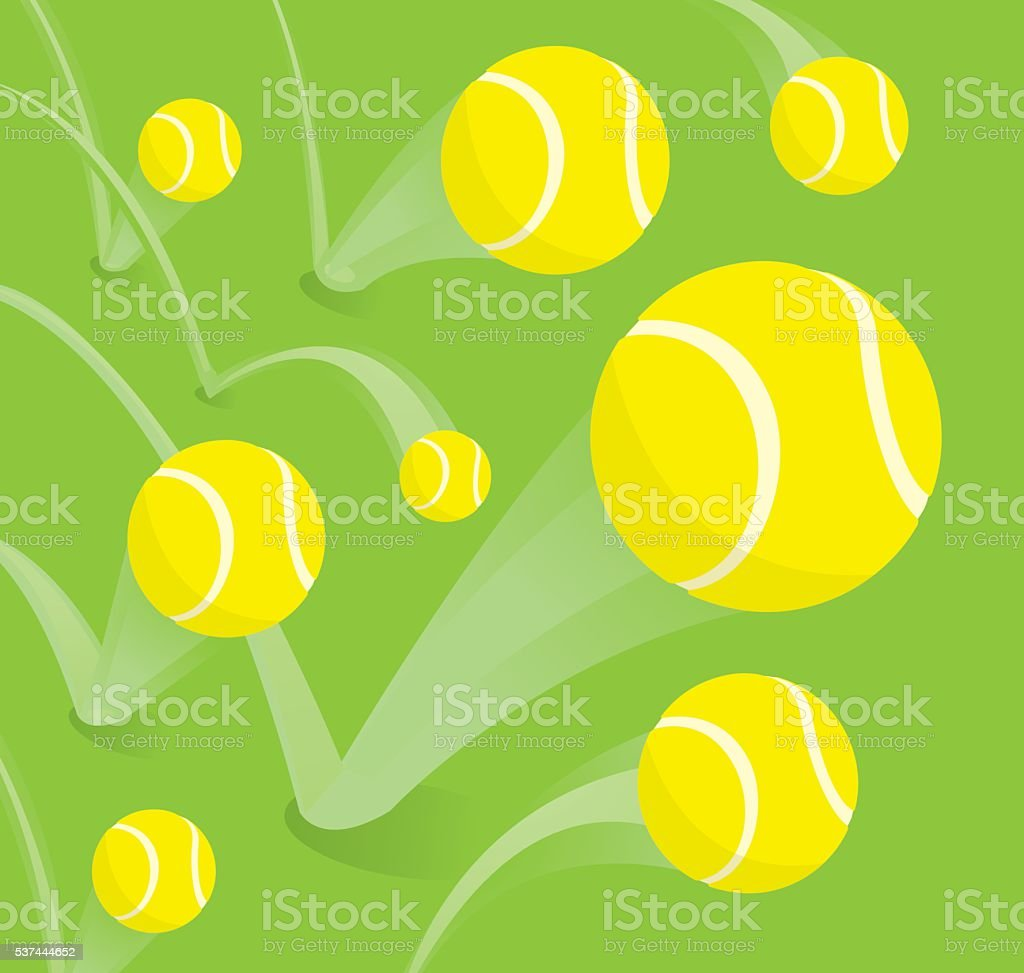 Lots of tennis balls bouncing vector art illustration