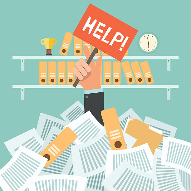 Lots of work concept Overworked businessman under a lot of documents and holding a HELP placard on office background with shelves full of binders. A lot of work concept. Vector colorful illustration in flat design overworked stock illustrations