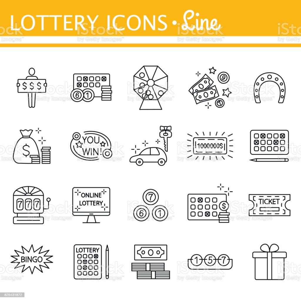 Lottery and profit fortune games black icon set isolated vector art illustration
