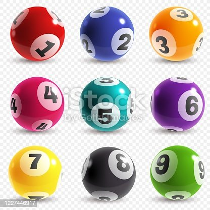 Lottery balls. Lotto game balls with numbers, bingo lucky instant jackpot win. Lottery internet leisure gamble, realistic vector isolated set