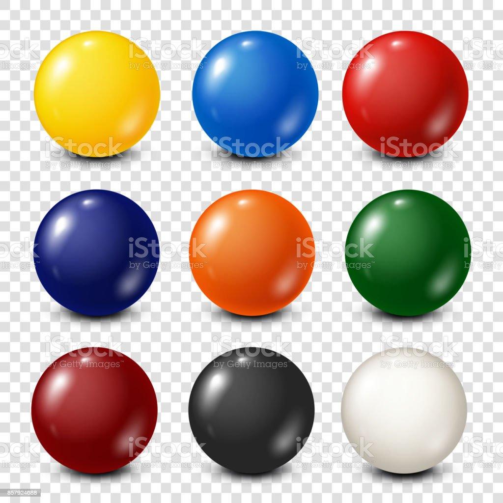 Lottery, billiard,pool balls collection. Snooker. Transparent background. Vector illustration vector art illustration