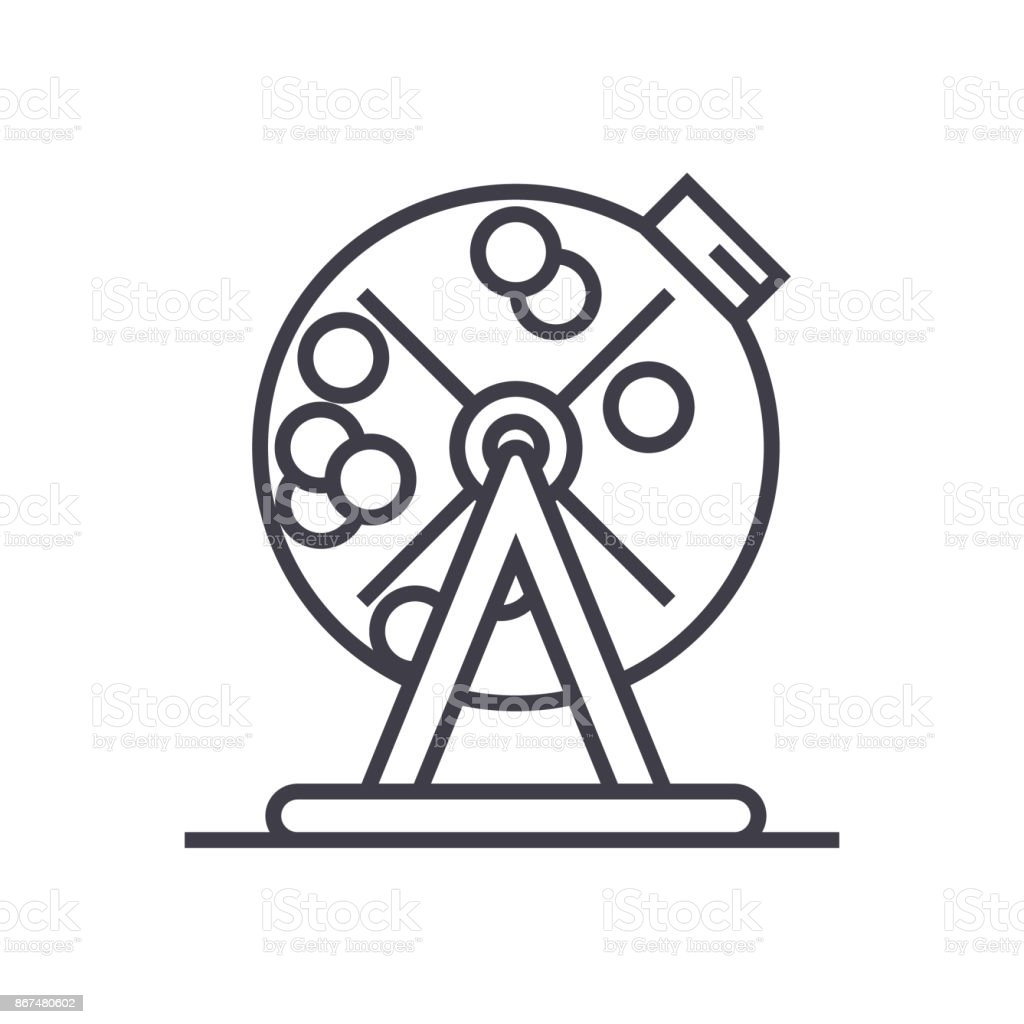 lottery bingo cage concept vector thin line icon, symbol, sign, illustration on isolated background vector art illustration