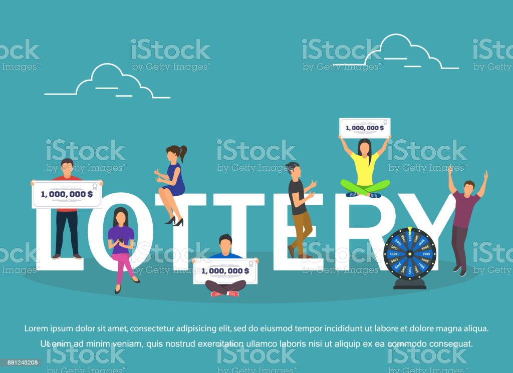 Lottery concept set with winning combinations flat design vector art illustration