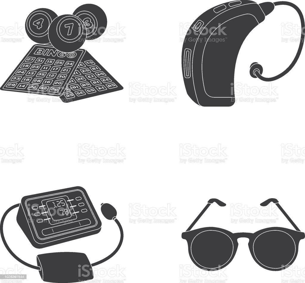 Lottery Hearing Aid Tonometer Glassesold Age Set Collection Icons In
