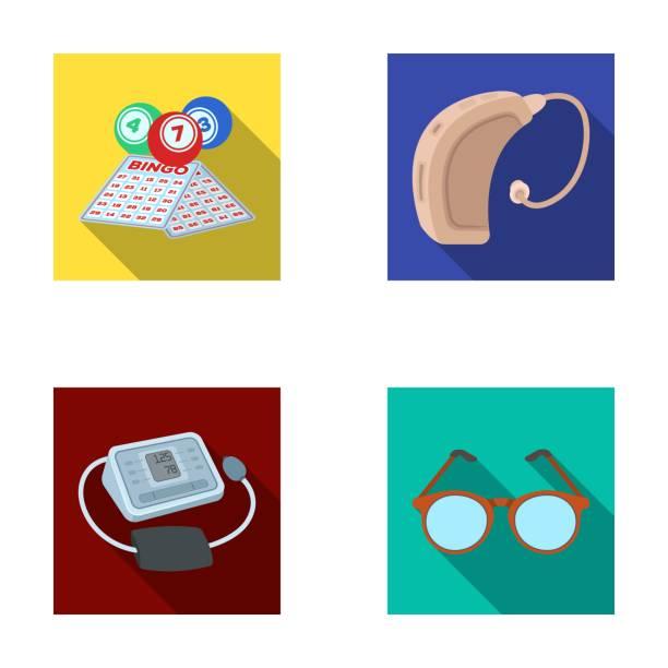 彩票, 助聽器, 血壓計, 眼鏡。老年集合圖示在平面向量符號股票插圖網站。 - hearing aid 幅插畫檔、美工圖案、卡通及圖標