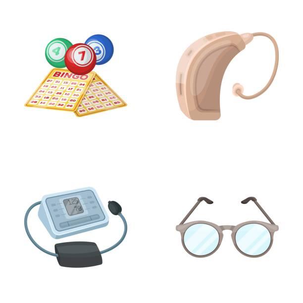 Lottery, hearing aid, tonometer, glasses.Old age set collection icons in cartoon style vector symbol stock illustration web. - illustrazione arte vettoriale