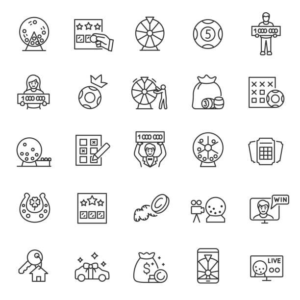 Lottery, icon set. Prize playing, lottery tickets and raffle drum, linear icons. Keno.Editable stroke Lottery, icon set. Prize playing, lottery tickets and raffle drum, linear icons. Keno. Line with editable stroke bingo stock illustrations
