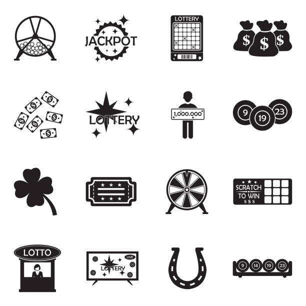 Lottery Icons. Black Flat Design. Vector Illustration. Fortune, Win, Lottery, Rich, Money lottery stock illustrations