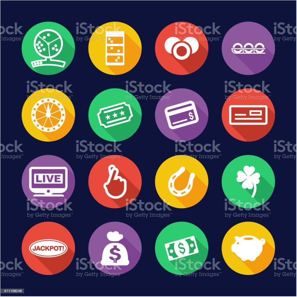 Lottery Icons Flat Design Circle vector art illustration