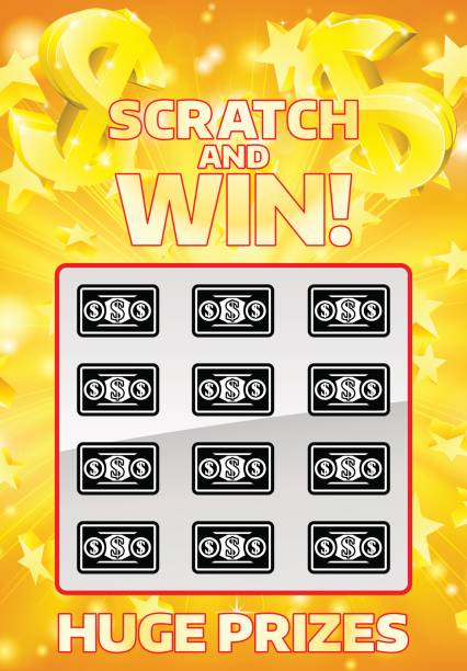 Lottery Instant Scratchcard An illustration of a lottery instant scratch and win scratchcard lottery stock illustrations