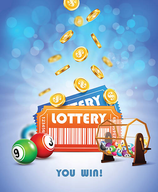 Lottery Jackpot poster. Lottery Jackpot with tickets, wheel, coins and balls. lottery stock illustrations