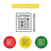 Lottery line icon. An illustration of a lottery ticket. Bingo. Single outline icon on the circle button. Outline illustration of lottery concept for web design, mobile application. Editable stroke.