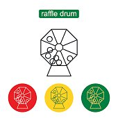 Abstract creative concept vector icon of lottery drum. Lottery machine vector icon.  Outline illustration of raffle drum vector icon for web design,  mobile application, icon, ui. Editable stroke.