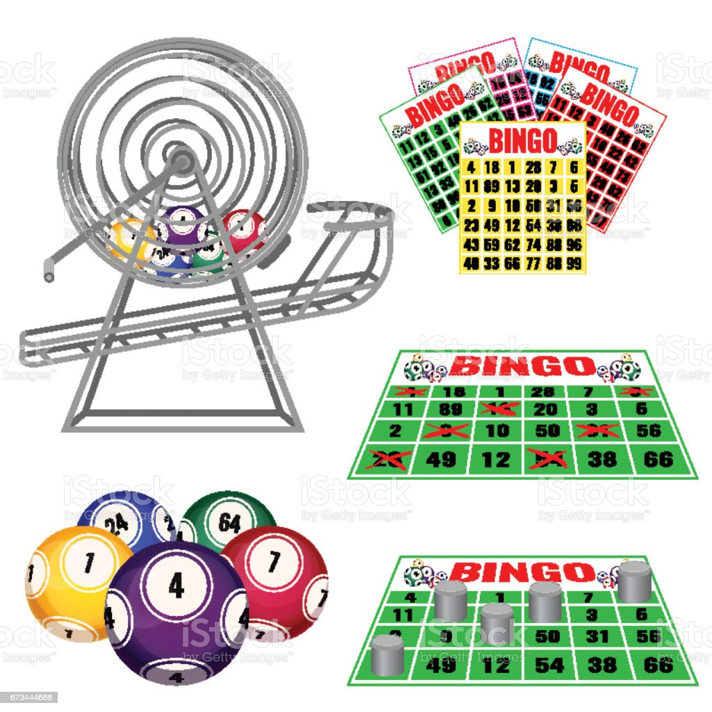 Lottery machine with balls inside, bingo cards and balls, tickets vector art illustration