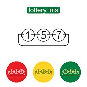 Lottery number balls line icon. Keno. Single flat icon on white background. Outline illustration of lottery concept for web design, mobile application. Editable stroke.