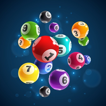 Lottery numbers. Flying realistic drawing lottery or billiard balls, lucky accidental win, instant jackpot internet gambling vector concept