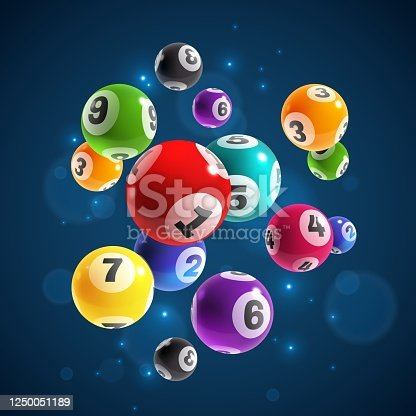 istock Lottery numbers. Flying realistic drawing lottery or billiard balls, lucky accidental win, instant jackpot internet gambling vector concept 1250051189