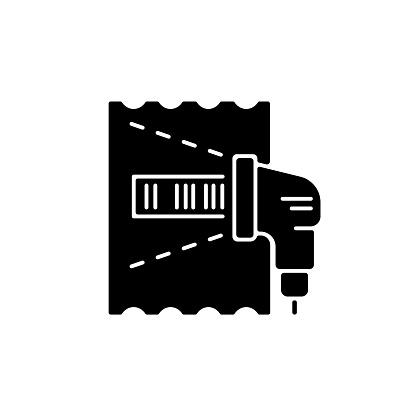 Lottery ticket scanner black glyph icon