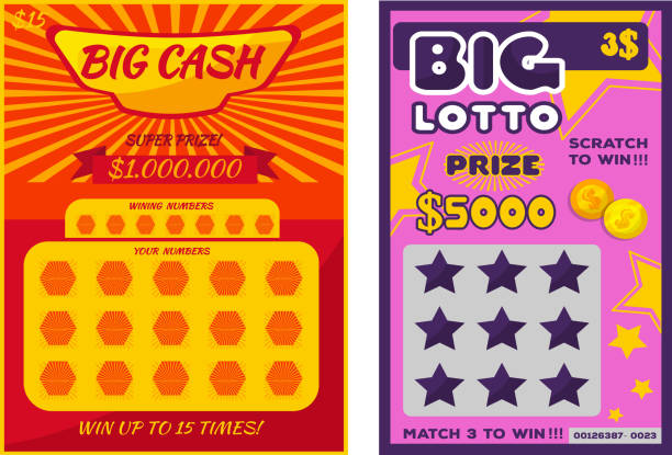 Lottery ticket vector lucky bingo card win chance lotto game jac vector art illustration