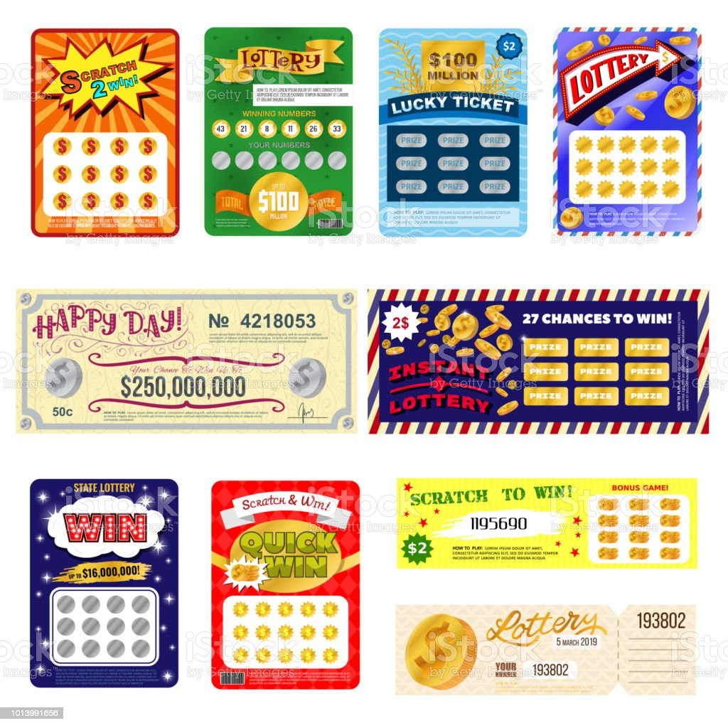 Billete de lotería lotto de oportunidad de ganar bingo suerte tarjeta jackpot juego set billetes de juegos de azar de lotería ilustración aisladas sobre fondo blanco de vectores - ilustración de arte vectorial