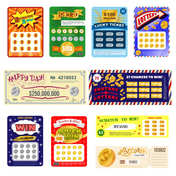 Lottery ticket vector lucky bingo card win chance lotto game jackpot set illustration lottery gaming tickets isolated on white background Lottery ticket vector lucky bingo card win chance lotto game jackpot set illustration lottery gaming tickets isolated on white background. lottery stock illustrations