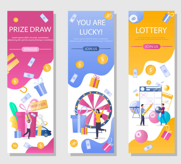 Lottery vector vertical web banner template set Lottery vertical web banner template set, vector illustration. People playing bingo, keno, lotto lottery games, taking part in prize drawing. Gambling industry. lottery stock illustrations