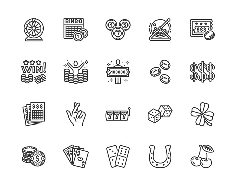 Lottery winner flat line icons set. Win money gambling, casino poker, bingo, wheel of fortune, scratch card vector illustrations. Outline signs for ticket store. Pixel perfect 64x64. Editable Strokes