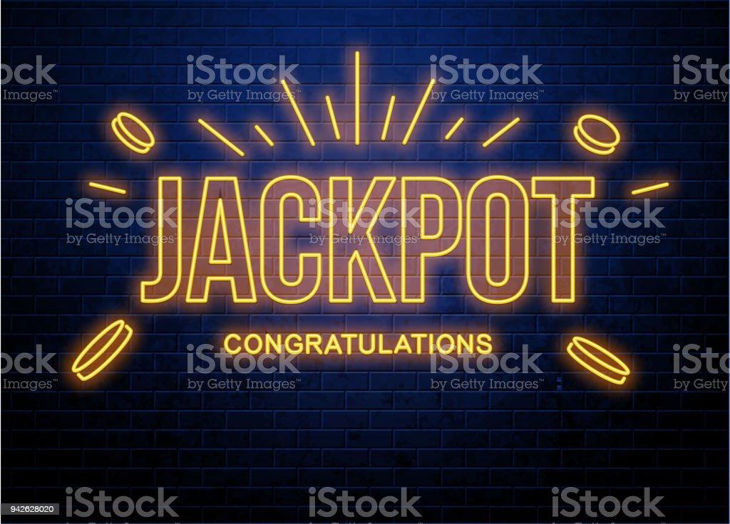 juego de lotería con botón de monedas brillantes de neón - ilustración de arte vectorial