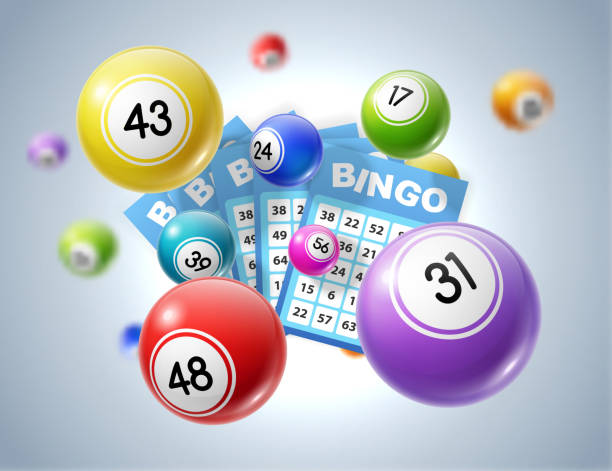 Lotto balls and lottery tickets with numbers Lottery balls and tickets 3d vector illustration of lotto, bingo or keno gambling sport games. Colourful balls and betting slips with numbers, gaming industry and casino advertising design bingo stock illustrations