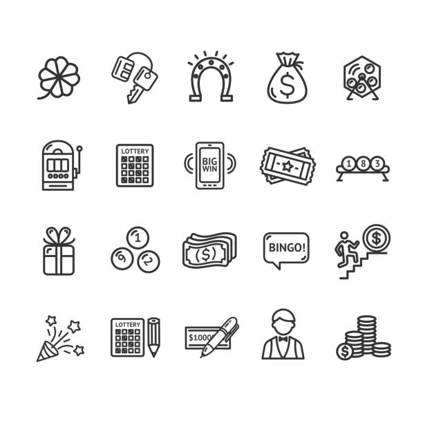 Lotto Signs Black Thin Line Icon Set. Vector Lotto Signs Black Thin Line Icon Set Include of Roulette, Machine, Horseshoe and Gift. Vector illustration of Icons Lottery lottery stock illustrations
